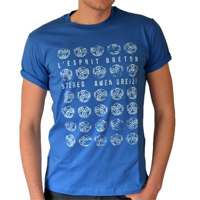 T-shirt bleu ciel - Tamps Blanc